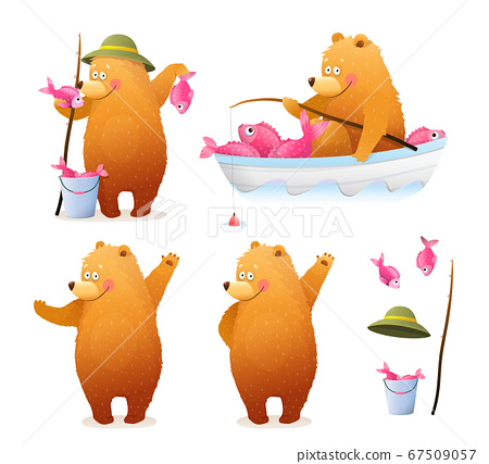 Bear Fisherman Fishing Cartoon Clipart for Kids 67509057
