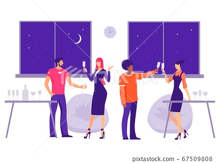 Corporate party in the office Illustration. Characters with glasses celebrate companys birthday joyful. 67509808