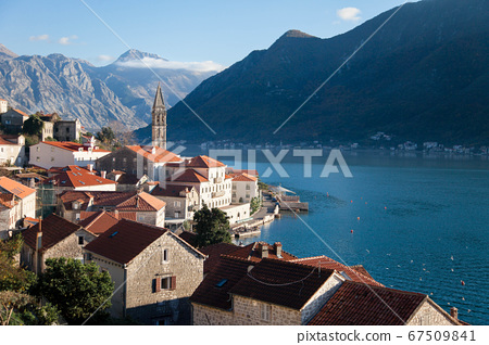 Perast in the Boka Kotor Bay in Montenegro. Amazing landscape with old town, blue mountains 67509841
