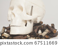 Skull and cigarette butts. Smoking kills 67511669