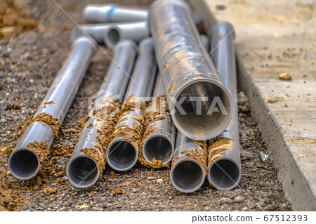 Metal pipes on a construction site in Utah Valley 67512393