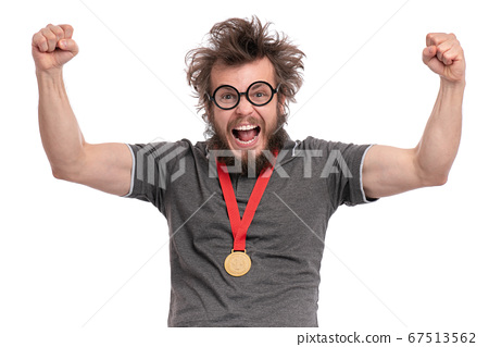 Crazy bearded man with medal 67513562