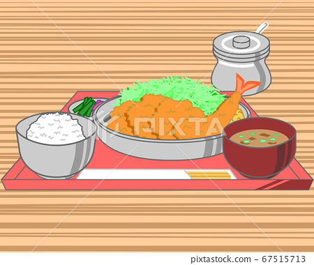 Illustration of bite tonkatsu bite fin cutlet and shrimp fried set miso soup and pickles set on a tray 67515713