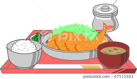 Illustration of bite tonkatsu bite fin cutlet and shrimp fried set miso soup and pickles set on a tray 67515881
