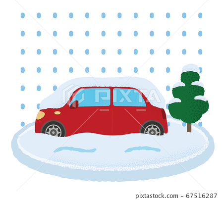 遭受大雪的汽車矢量插畫 67516287