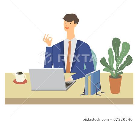 男子文書工作遠程辦公遠程工作商務家用筆記本電腦矢量圖 67520340
