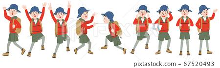 戶外風格的年輕人構成和麵部表情變化 67520493