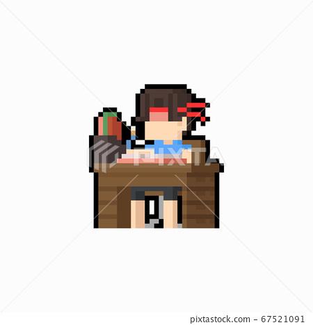 Pixel art boy doing his home work on desk. 67521091