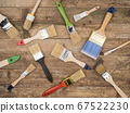 Paint brush on wooden background. The view from 67522230