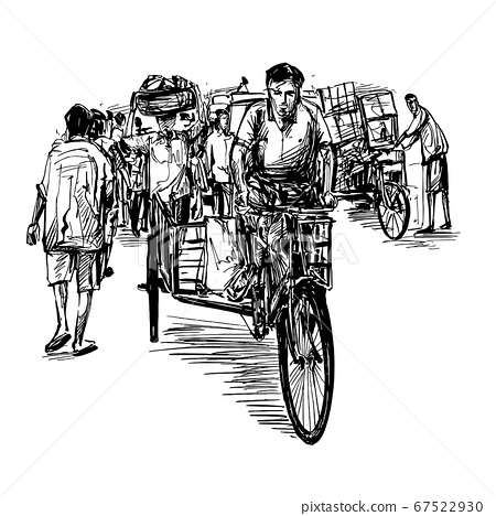 Drawing of the rickshaw at local market in India  67522930