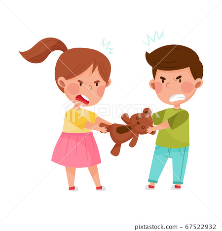 Hostile Kids with Angry Grimace Fighting Over Toy Bear Vector Illustration 67522932