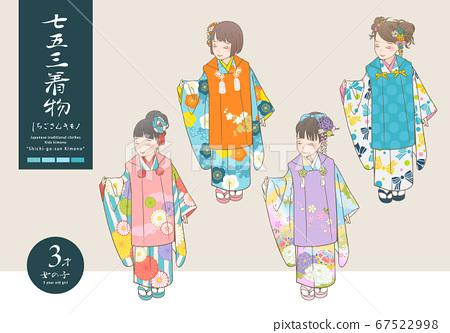 七go山和服矢量插圖(3歲的女孩) 67522998