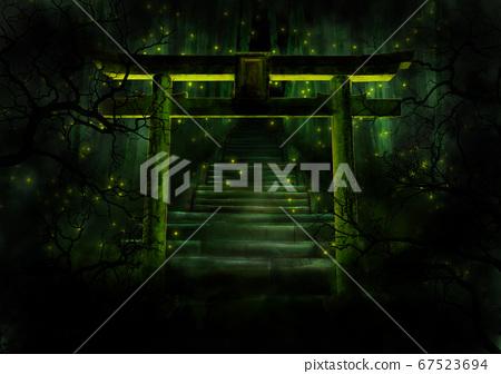 森林神社和螢火蟲 67523694