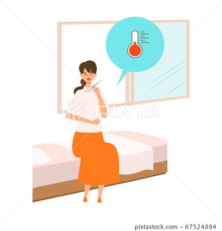 [新旅行禮儀]一名婦女在旅行目的地檢查自己的健康狀況的插圖伴隨GoTo Travel運動的插圖 67524894