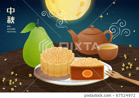Mid autumn festival greeting poster 67524972