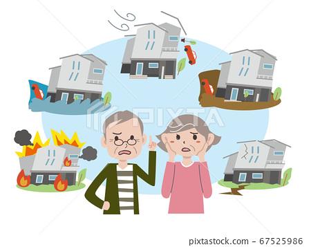一对老年夫妇担心房屋灾难 67525986