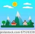 Flat Design Villagein in spring season 67526338