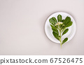 Paper white plate on a gray background. The concept of eco glassware and recycling. Top view. Free 67526475