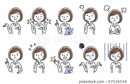벡터 일러스트 소재 : 젊은 여성 간호사 세트 컬렉션 67526549