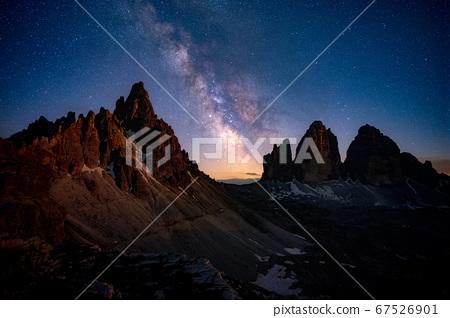 Mliky way over the Tre Cime, Alps Mountain, 67526901