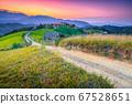 Beautiful summer rural landscape at sunset near Brasov, Transylvania, Romania 67528651