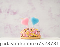 cupcake with heart shaped candles for birthday 67528781