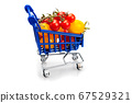 Organic tomatoes in a supermarket trolley. Ripe 67529321