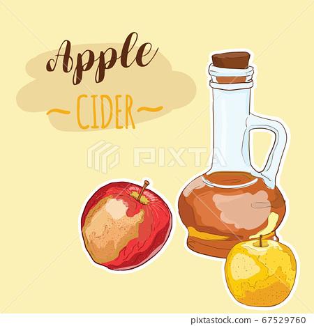 Hand Drawn Doodle Full Color Colorful Apple Sider Vinegar Fruit Drink 67529760
