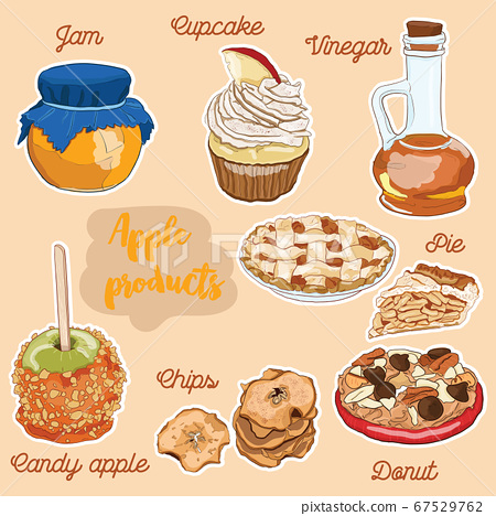 Hand Drawn Full Color Colorful Apple Fruit Products Donut, Pie, Vinegar, Jam, Chips, Cupcake, Candy apple dessert 67529762
