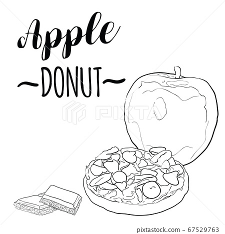 Hand Drawn Black and White Apple Fruit Donut with Peanut Butter Pecan Almond and Chocolate 67529763