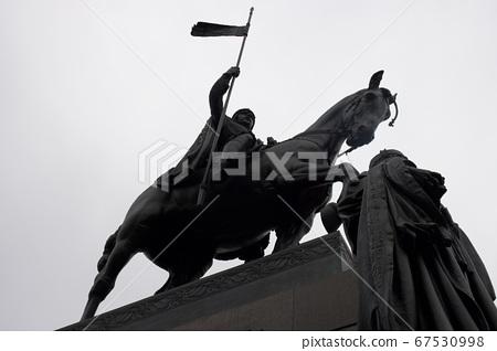 Prague, Czech republic - 12. 11. 2019: The statue of St Wenceslas in Wenceslas Square in Prague 67530998