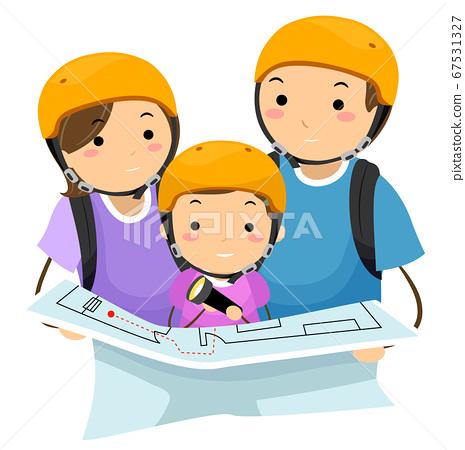 Stickman Family Escape Map Illustration 67531327