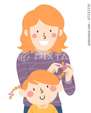 Mom Kid Girl Parent Fix Hair Illustration 67531330