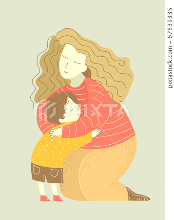 Mother Hug Child Illustration 67531335