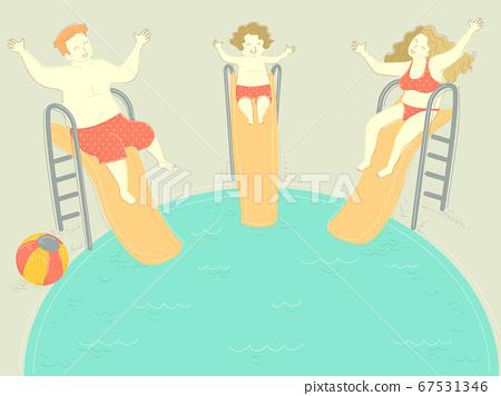 Family Happy Pool Slide Kid Boy Illustration 67531346