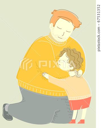 Family Dad Man Hug Child Kid Boy Illustration 67531352