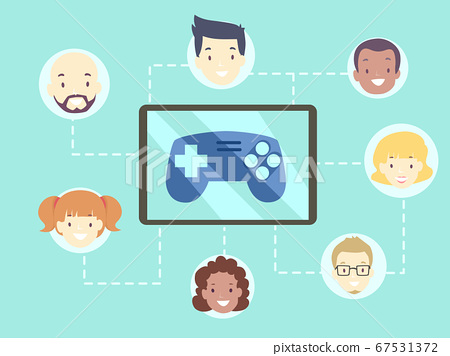 People Video Game Multi Player Illustration 67531372