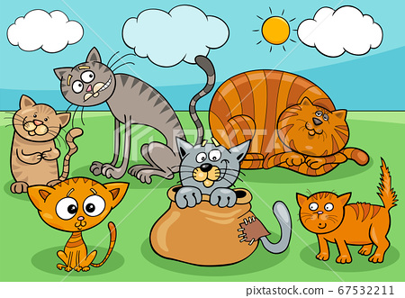 cats and kittens group cartoon illustration 67532211