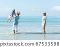 Happy family summer sea beach vacation. 67533598