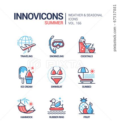 Summer - modern line design style icons set 67537881