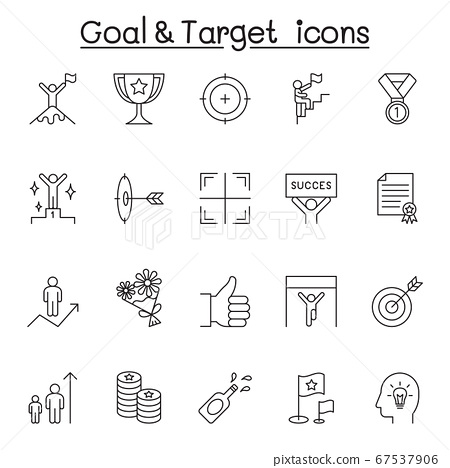 Goal & target icon set in thin line style 67537906