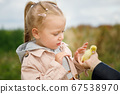 Little girl admires the little duckling held by mom's hand 67538970