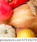 Set of vegetables and fruit. Bright background. 67539270