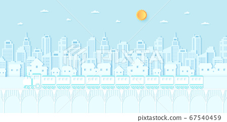 Transportation, Train running on the bridge, Cityscape, residential, house, buildings with blue sky and sun, paper art style 67540459