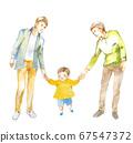 남성 커플과 어린이의 수채화 67547372