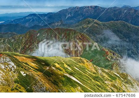 上越邊境山脊線和山。 67547686
