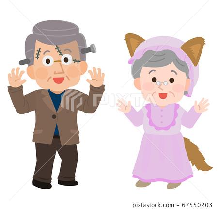 老年夫婦偽裝萬聖節派對圖 67550203