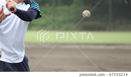 Coach hitting the last knock in practice before high school baseball/summer tournament 67550214