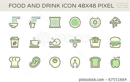 Food and drink and coffee vector icon set design,  67551664