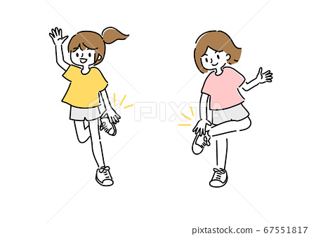 一個女人做拍手運動的插圖 67551817